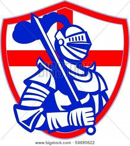 English Knight Hold Sword England Shield Flag Retro