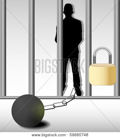 Illustration Of Business Man In Prison Isolated On White Background