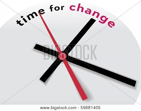 Hands of clock point to time for change and improvement