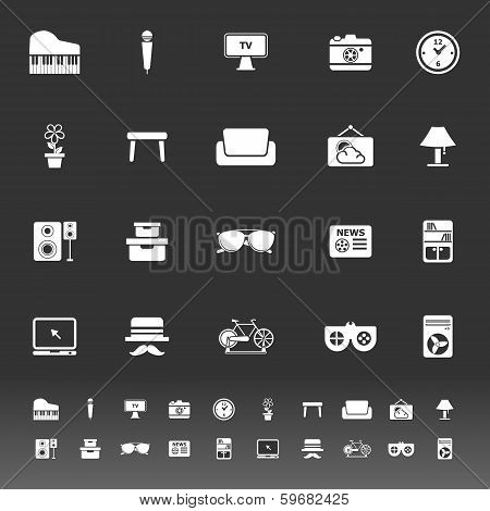 Living Room Icons On Gray Background