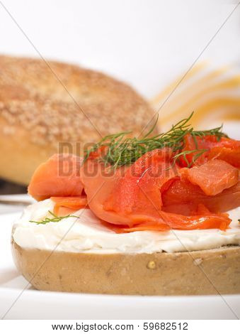 Delicious freshly baked Everything Bagel with cream cheese, lox (also known as salmon) and dill