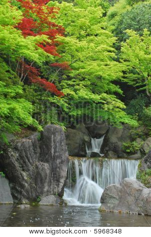 Waterfall In A Japanese Zen Garden