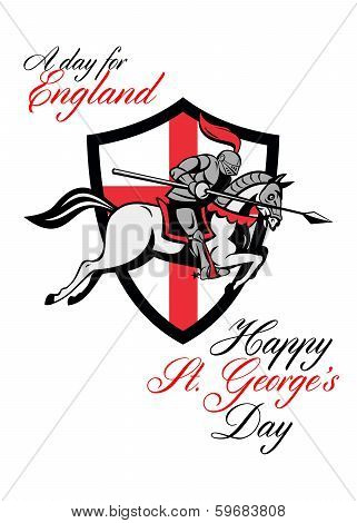 Happy St George Day A Day For England Retro Poster