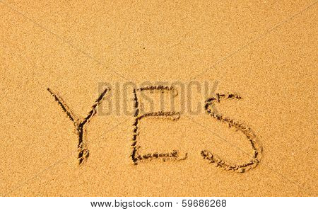 Yes - written in sand texture on the beach.