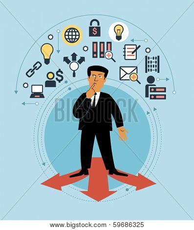 Cartoon man with multiple arrow paths and business icons. The concept of choice business strategy. Which path to take. Person standing on  arrows.