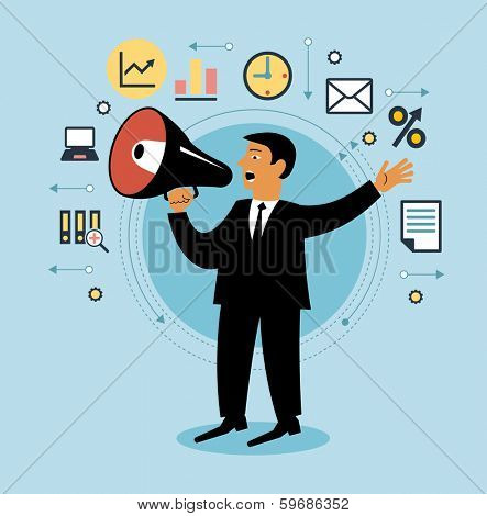 Cartoon man with megaphone and business icons. Giving an announcement. People is using a speaker. Person giving an announcement