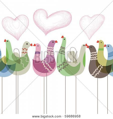 Love birds ornament seamless pattern