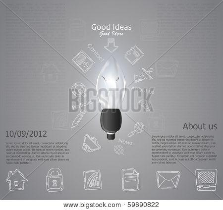 Creative light bulb idea abstract