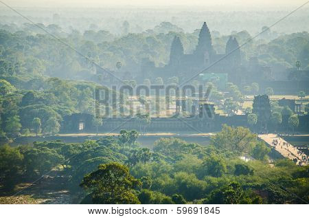 Angkor, Cambodia - landscape view from balloon with Angkor Wat buildings in background