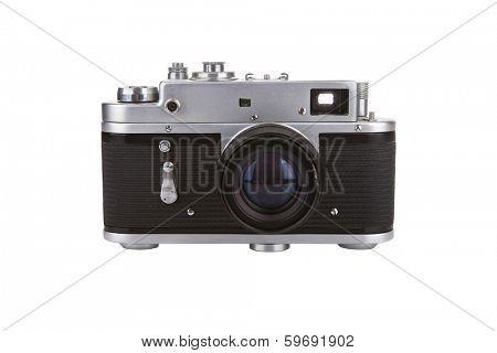 Old manual camera on white background
