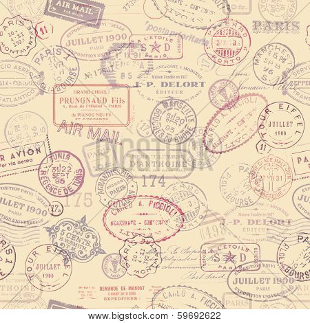 seamlessly tiling postage themed pattern with vintage stamps