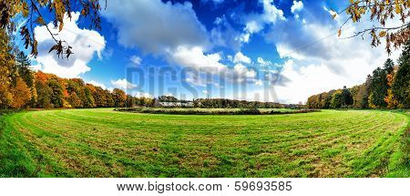 Panoramic Autumn Landscape With Abandoned Hippodrome