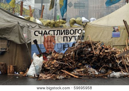 KIEV, UKRAINE - FEB 10, 2014: Downtown of Kiev.Situation in the city.Destruction,propaganda and barricades. Riot in Kiev and Western  Ukraine.February 10, 2014 Kiev, Ukraine