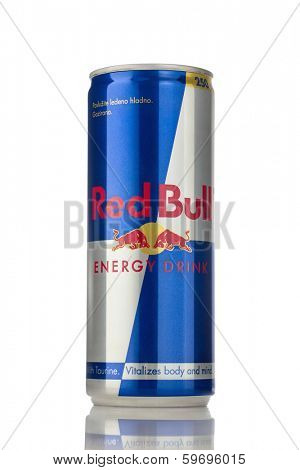 Sarajevo, Bosnia and Herzegovina - February 11, 2014: Can of Red Bull Energy Drink. Red Bull was created by Austrian entrepreneur Dietrich Mateschitz in 1987.