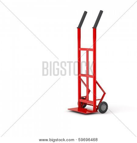 Red empty sack barrow or hand truck dolly on white background