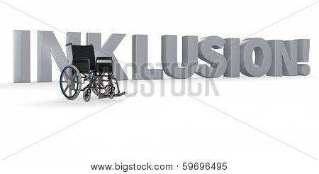 Wheelchair in front of the german word