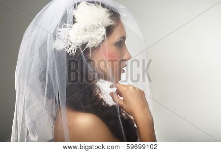 Engagement. Loveliness. Side View Of Sincere Affectionate Woman In Veil
