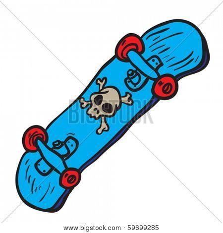 blue skateboard with skull cartoon doodle