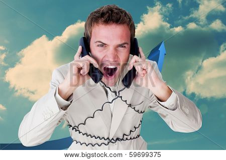 Confident businessman having a phone call against blue arrow pointing up against sky