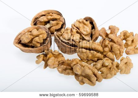 cracked walnut isolated on the white background
