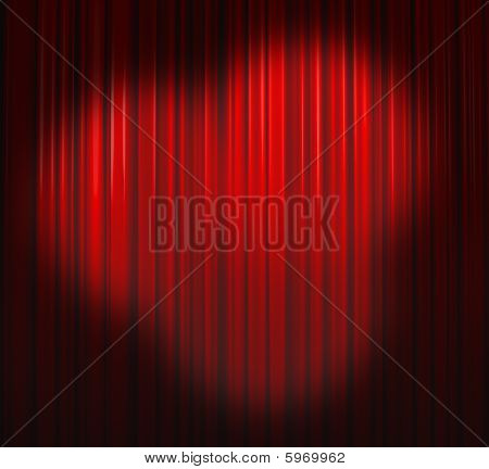 Deep Red Curtain With Three Spots