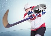 stock photo of hockey arena  - Aggressive hockey player shot into camera front glass - JPG
