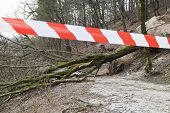 image of sleet  - Road closed with safety ribbon - JPG
