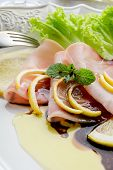 foto of swordfish  - swordfish carpaccio with green salad - JPG