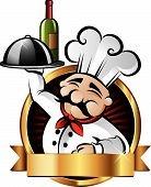 stock photo of italian food  - Cheerful chef serving dinner at a restaurant  - JPG
