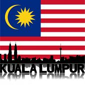 Kuala Lumpur skyline and text reflected with Malaysian flag vector illustration
