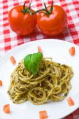Plate Of Fresh Spaghetti With Tomatoes poster