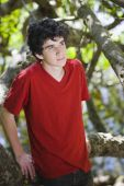 picture of teenage boys  - Portrait of Teen Boy in Red Shirt Standing in Woods - JPG