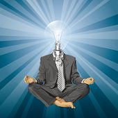 Relax concept. Vector lamp head businessman in lotus pose meditating