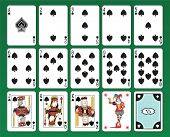 Set of playing cards of Spades on green background. The figures are original design as well as the j