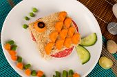 stock photo of sandwich  - A fish shaped sandwich healthy kid food