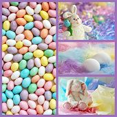 Easter collage includes a macro of speckled, pastel colored jelly beans, and still life images of eg