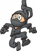 Dead cartoon ninja. Vector clip art illustration with simple gradients. All in a single layer.