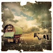 stock photo of gypsy  - An Old Vintage Photograph of an Old Gypsy Caravan - JPG