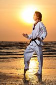 picture of taekwondo  - Martial arts man training taekwondo at sunset - JPG