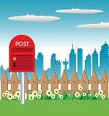 stock photo of mailbox  - Colorful illustration with a red mailbox near a fence - JPG