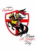 A Day For England Happy St George Day Retro Poster