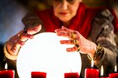 stock photo of clairvoyance  - Female Fortuneteller or esoteric Oracle - JPG