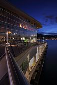 image of inlet  - The Vancouver Trade and Convention looking out on Burrard Inlet at twilight - JPG