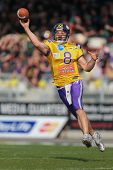 VIENNA,  AUSTRIA - APRIL 21 QB Christoph Gross (#8 Vikings) throws the ball during the AFL football