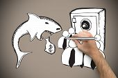 pic of loan-shark  - Hand holding a silver pen against grey background with vignette - JPG