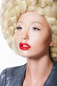 Extravagant Hairstyle. Stylish Woman With Creative Art Trendy Wig