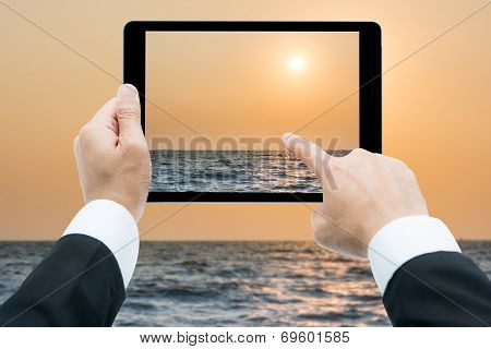 Businessman Hands Tablet Taking Pictures Beach And Sea