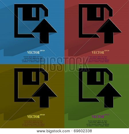 Color set floppy disk upload,  Flat modern web button with long shadow and space for your text