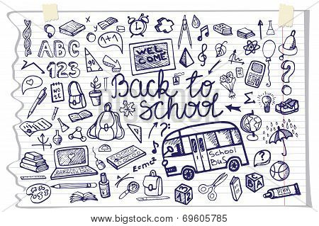 Back to School lettering,Supplies Sketchy Notebook Doodles.Horiz