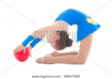 Girl Doing Gymnastics With Ball  Isolated On White